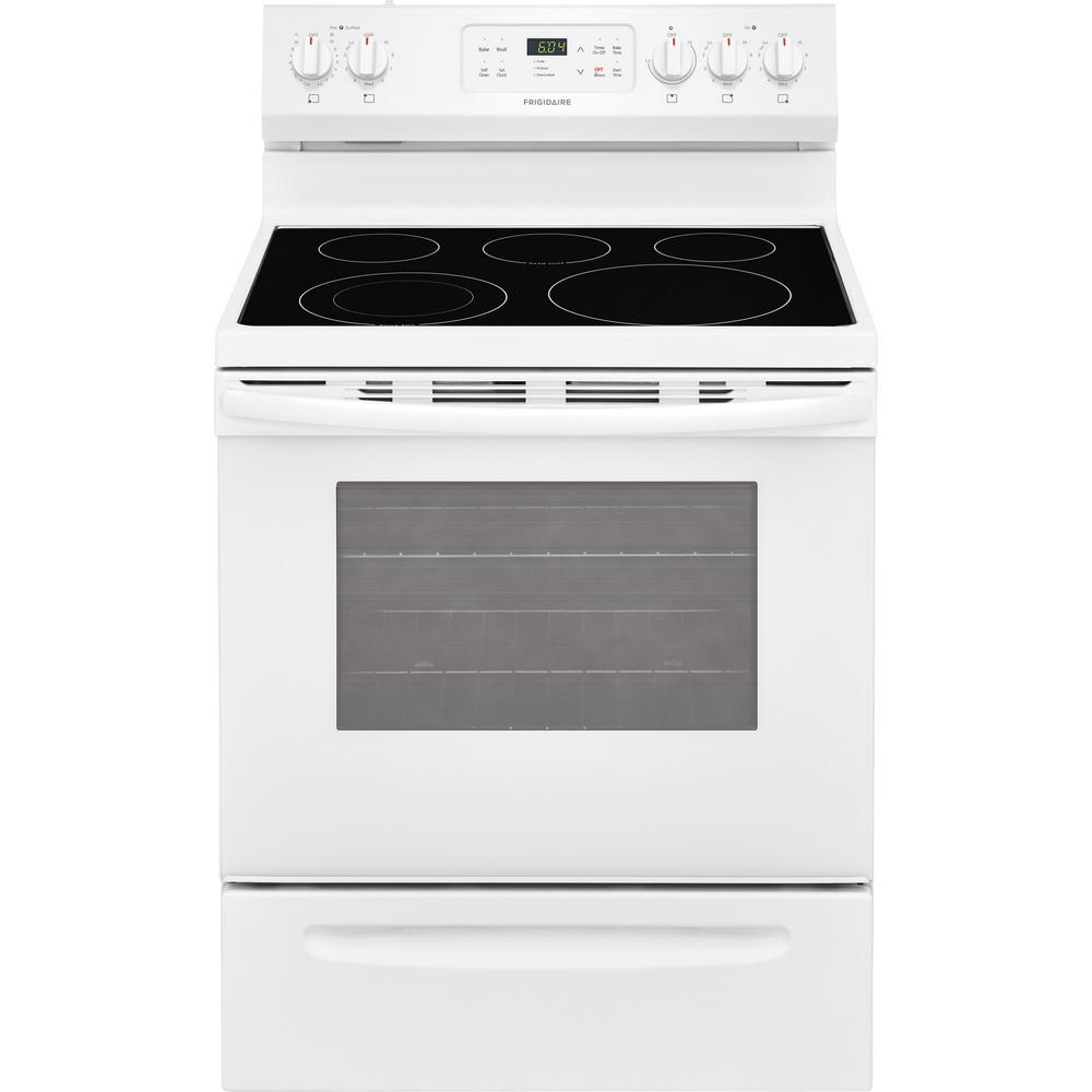 Frigidaire 30 In 5 3 Cu Ft Electric Range With Self Cleaning Oven In White Ffef3054tw The Home Depot