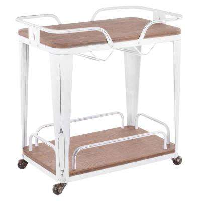 Oregon Vintage White Metal and Brown Wood Bar Cart