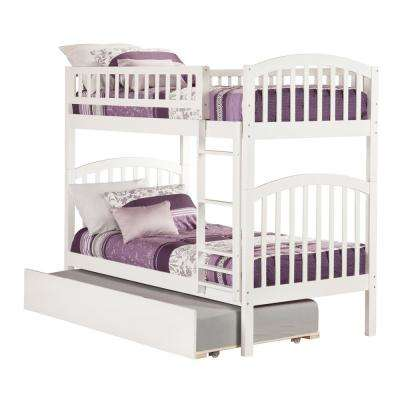 Richland White Twin Over Twin Bunk Bed with Twin Urban Trundle Bed