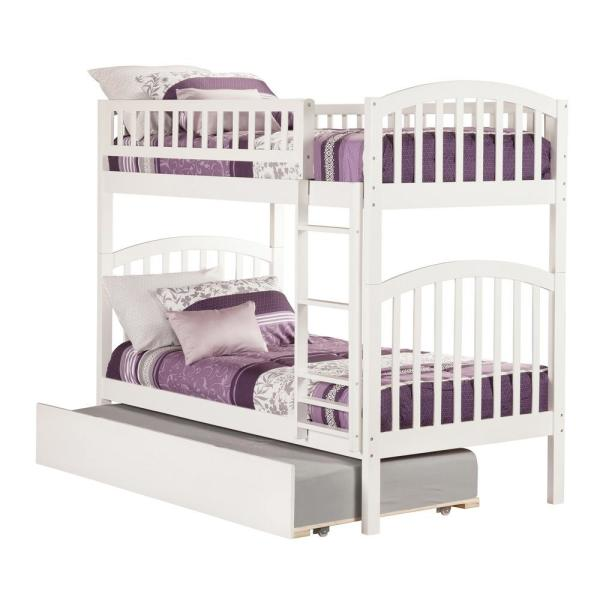 Atlantic Furniture Richland White Twin Over Twin Bunk Bed with Twin Urban Trundle Bed