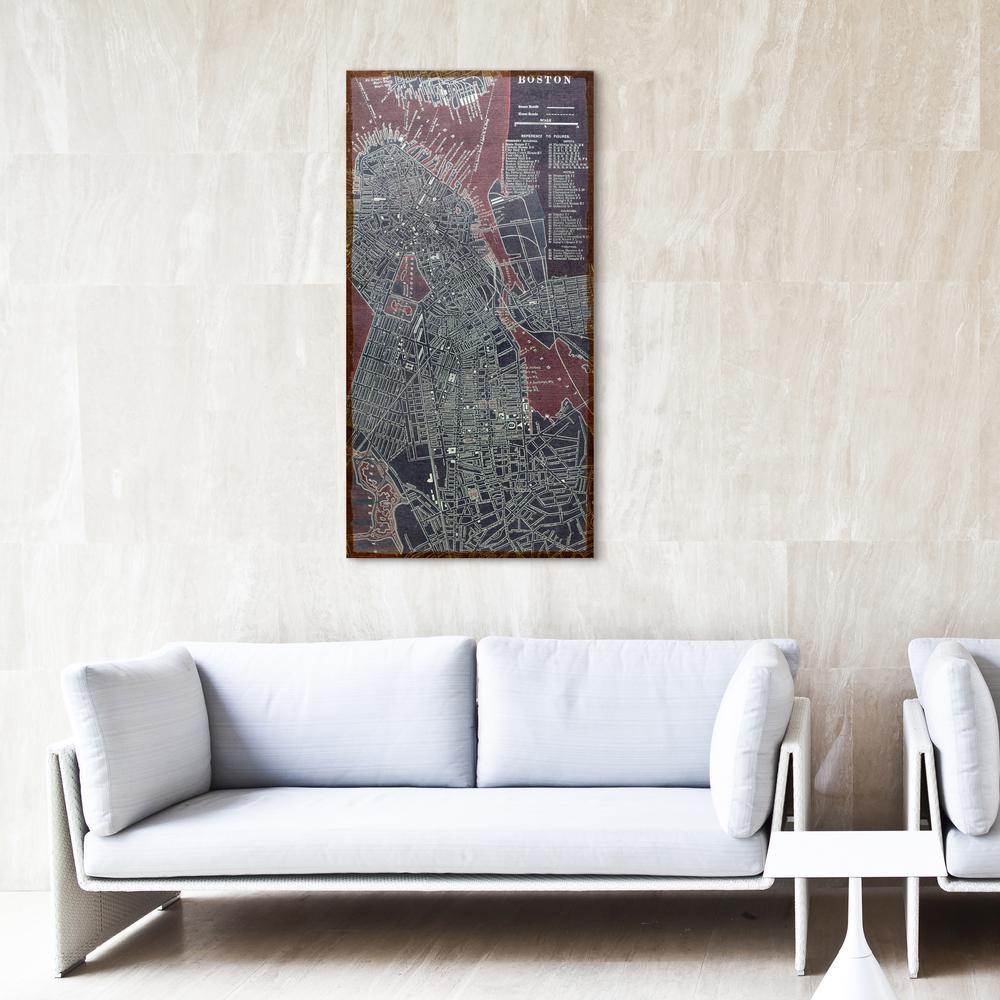 """48 in. x 24 in. """"Antique Map of Boston"""" Digital Print on Fresco Jute Wall Art"""