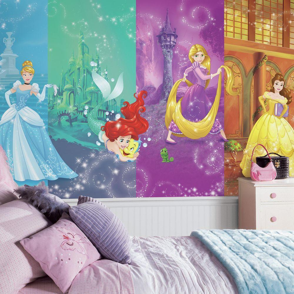 roommates 72 in w x 126 in h disney princess scenes xl chair rail rh homedepot com disney princess wall murals uk disney princess wall decals australia