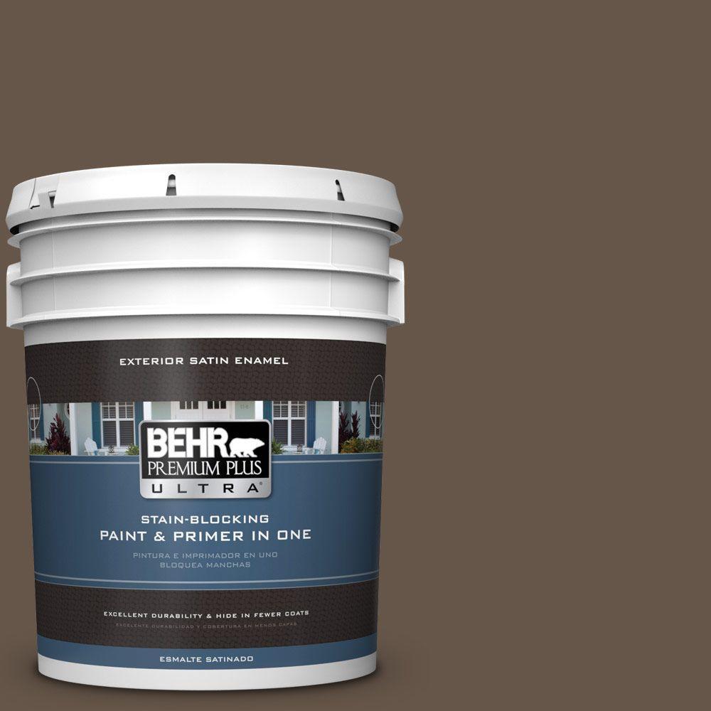 BEHR Premium Plus Ultra 5-gal. #N220-7 Cavalry Brown Satin Enamel Exterior Paint