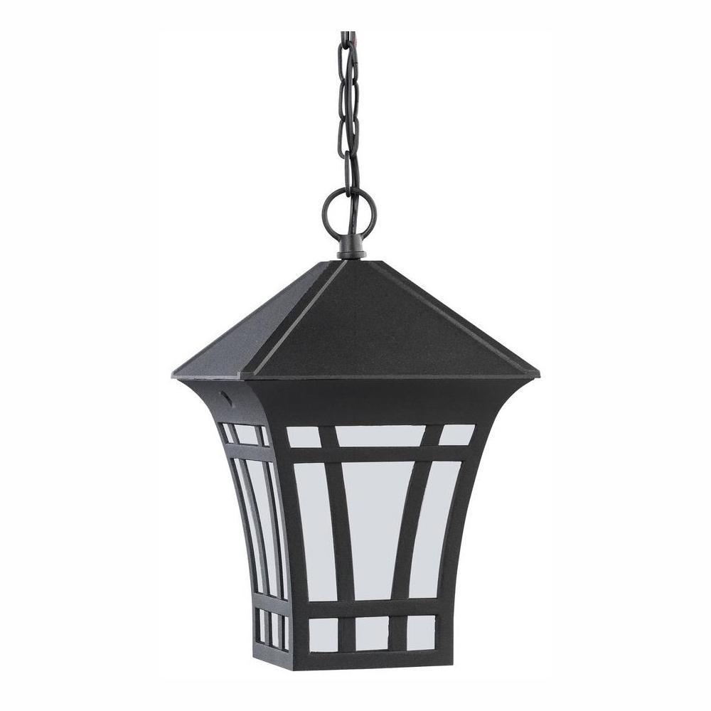 Herrington Black 1-Light Outdoor Hanging Pendant with LED Bulb
