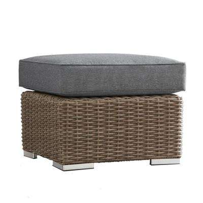 Camari Mocha Wicker Outdoor Ottoman with Gray Cushion