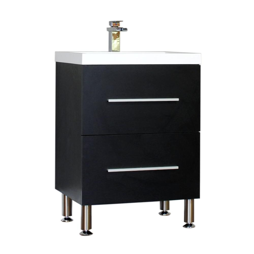 Ripley 23.5 in. W x 18.87 in. D x 33.25 in. H Vanity in Black with Acrylic Vanity Top in White with White Basin