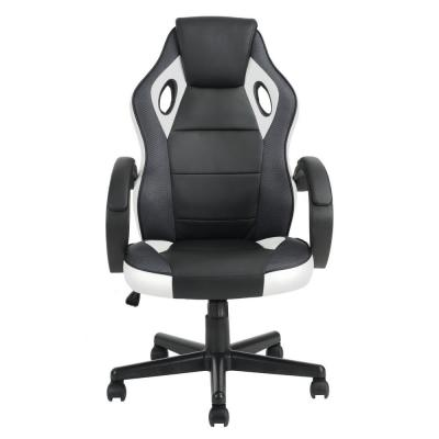 Tunney Black White PU Racing Gaming Chair