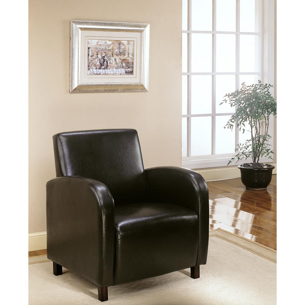 Ingolf Chair Brown Black: Monarch Dark Brown Leather-Look Accent Chair-I 8050
