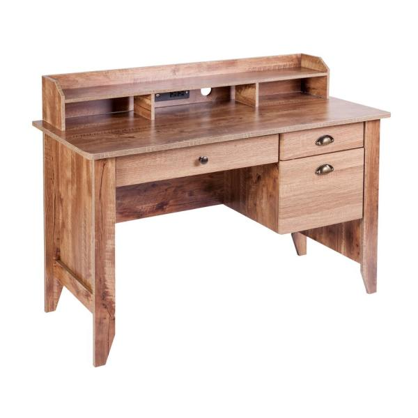 OneSpace Eleanor Classic Oak Executive Desk with Hutch, USB and Charger