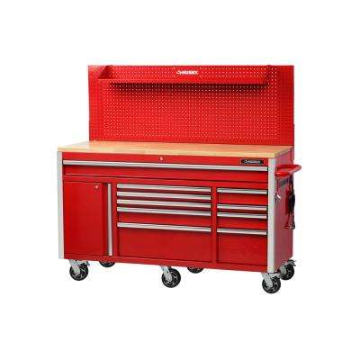 61 in. W 24 in. D 10-Drawer 1-Door Mobile Workbench with Solid Wood Top and Flip-Up Pegboard in Red