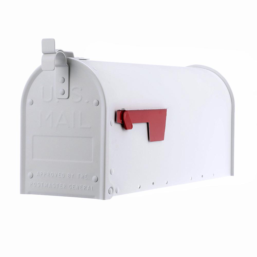 Admiral Textured White Aluminum Medium Post Mount Mailbox