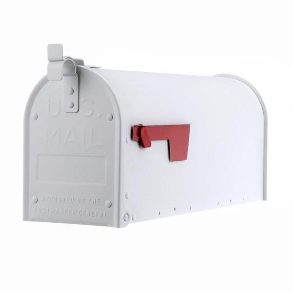 Admiral Medium, Aluminum, Post-Mount Mailbox, Textured White