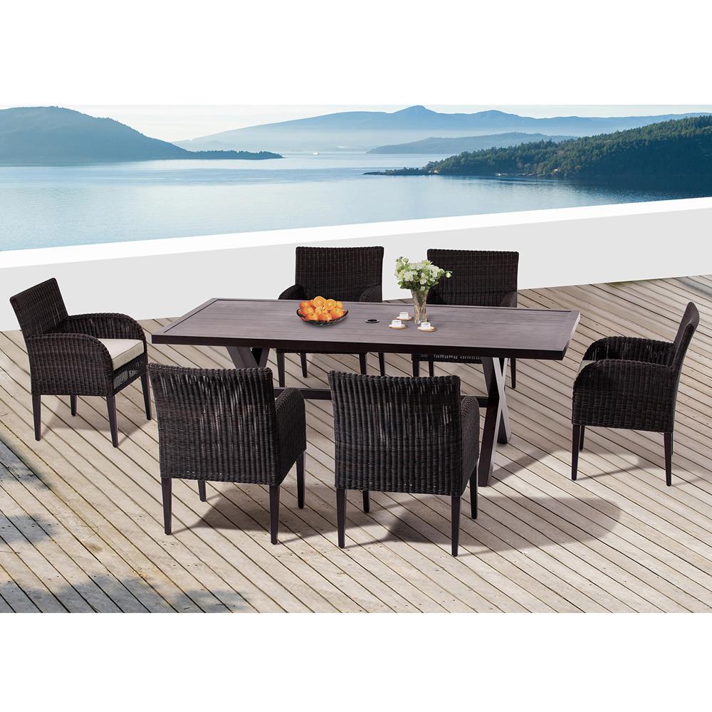 Majorca Dark Brown 7-Piece Aluminum Rectangular Outdoor Dining Set with  Beige Cushions - Stain Resistant - Polyethylene - Metal Patio Furniture - Patio
