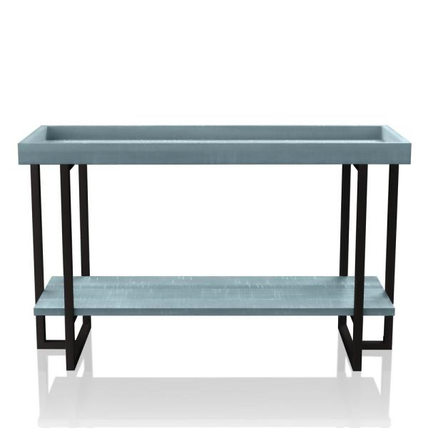 Triblisi 30.5 in. H Antique Blue and Black Sofa Table