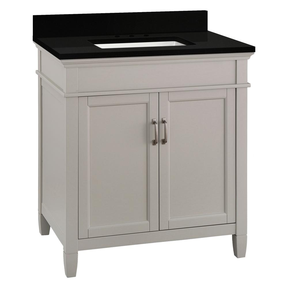Home Decorators Collection Ashburn 31 in. W x 22 in. D Bath Vanity in Grey with Granite Vanity Top in Midnight Black with Trough White Basin was $699.0 now $419.4 (40.0% off)