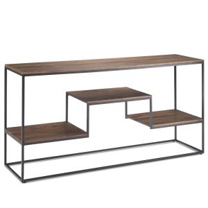 Byron 60 in. Wide Contemporary Industrial Console Table in Light Walnut Brown