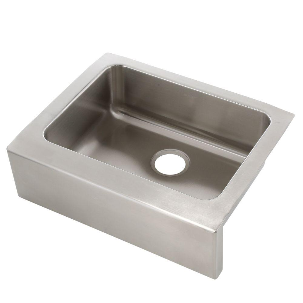 Elkay Lustertone Farmhouse Apron Front Stainless Steel 25