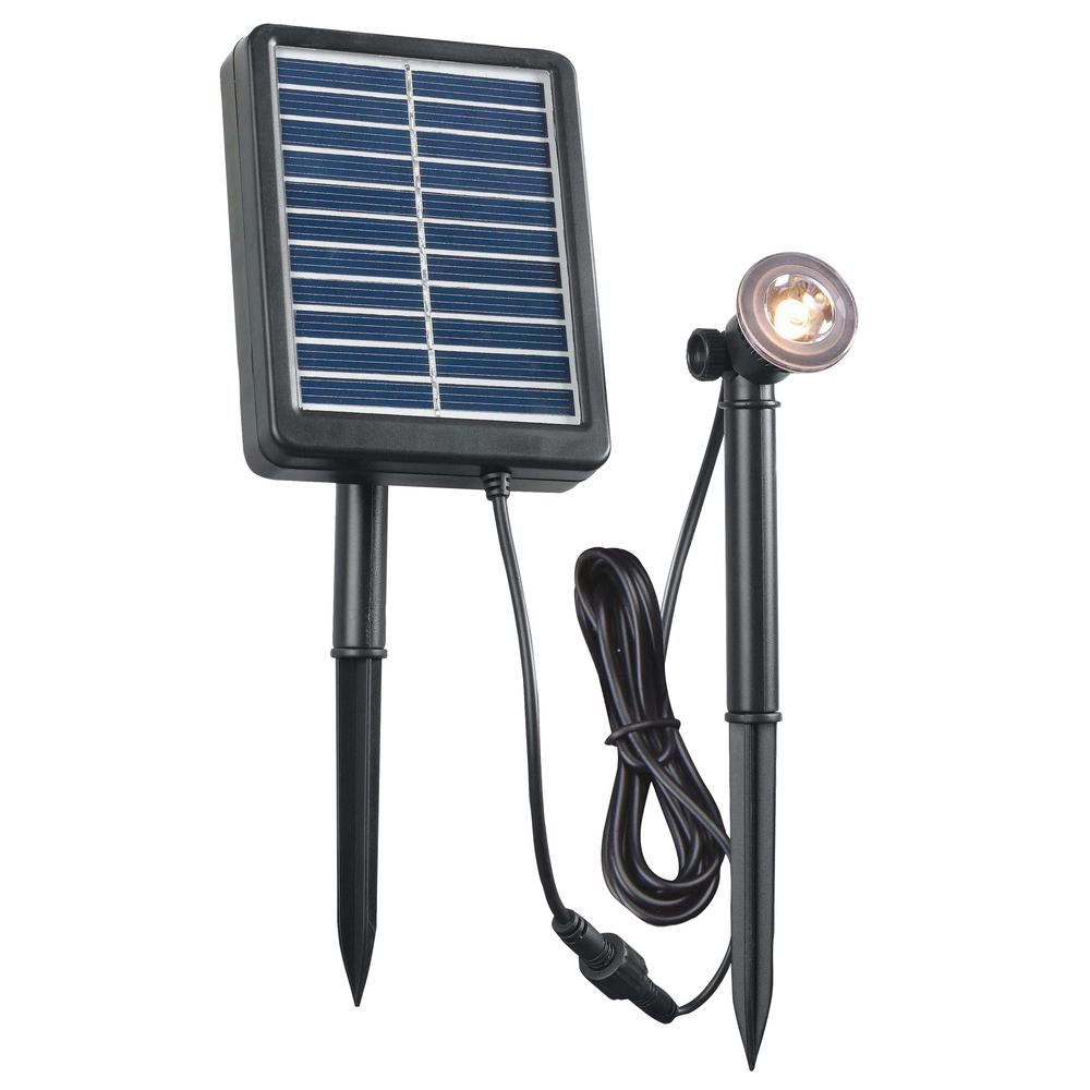 Solar 1-Watt Black Outdoor Integrated LED Landscape Spot Light