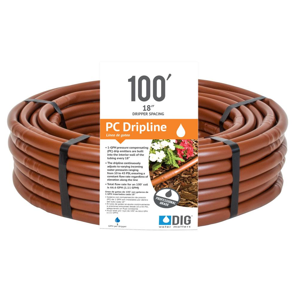 Earthline Brown PC 100 ft. 1 GPH Pressure Compensating Drip Line