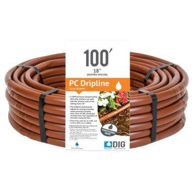 Earthline Brown PC 100 ft. 1 GPH Pressure Compensating Drip Line with 18 in. Spacing