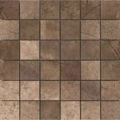 St. Moritz Ii Chocolate 11.73 in. x 11.73 in. x 8mm Porcelain Mesh-Mounted Mosaic Tile (0.97 sq. ft.)