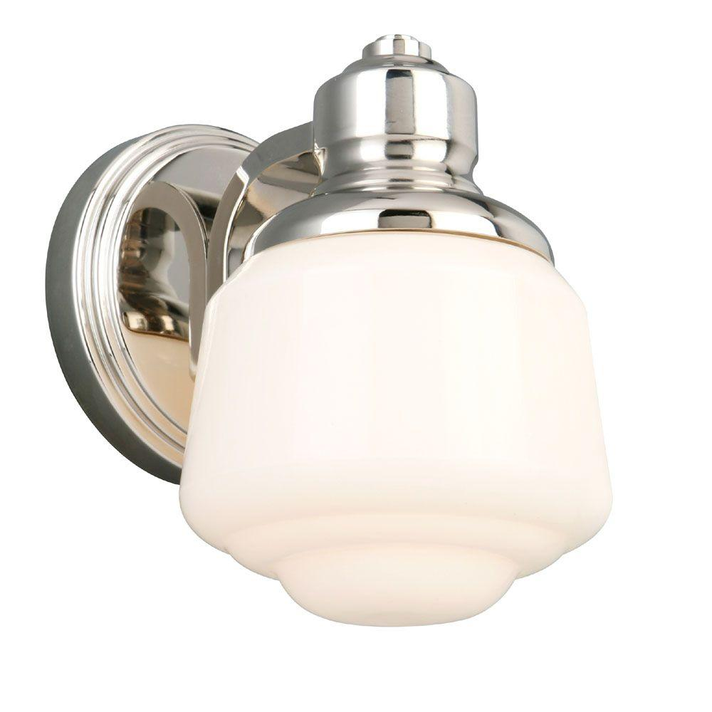Hampton Bay Whitford 1-Light Polished Nickel Sconce