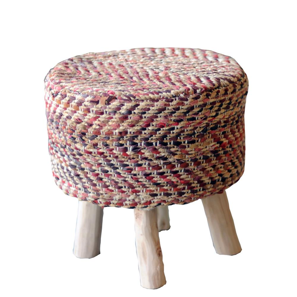 Annah leather and jute stool