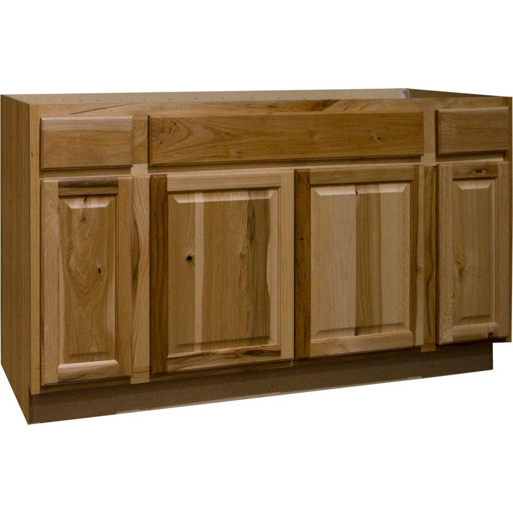 Hampton Assembled 60x34.5x24 in. Sink Base Kitchen Cabinet in Natural Hickory