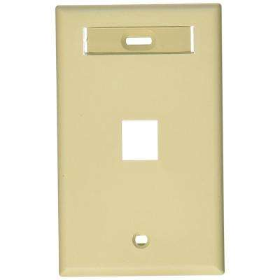 1-Gang QuickPort Standard Size 1-Port Wallplate with ID Window, Ivory