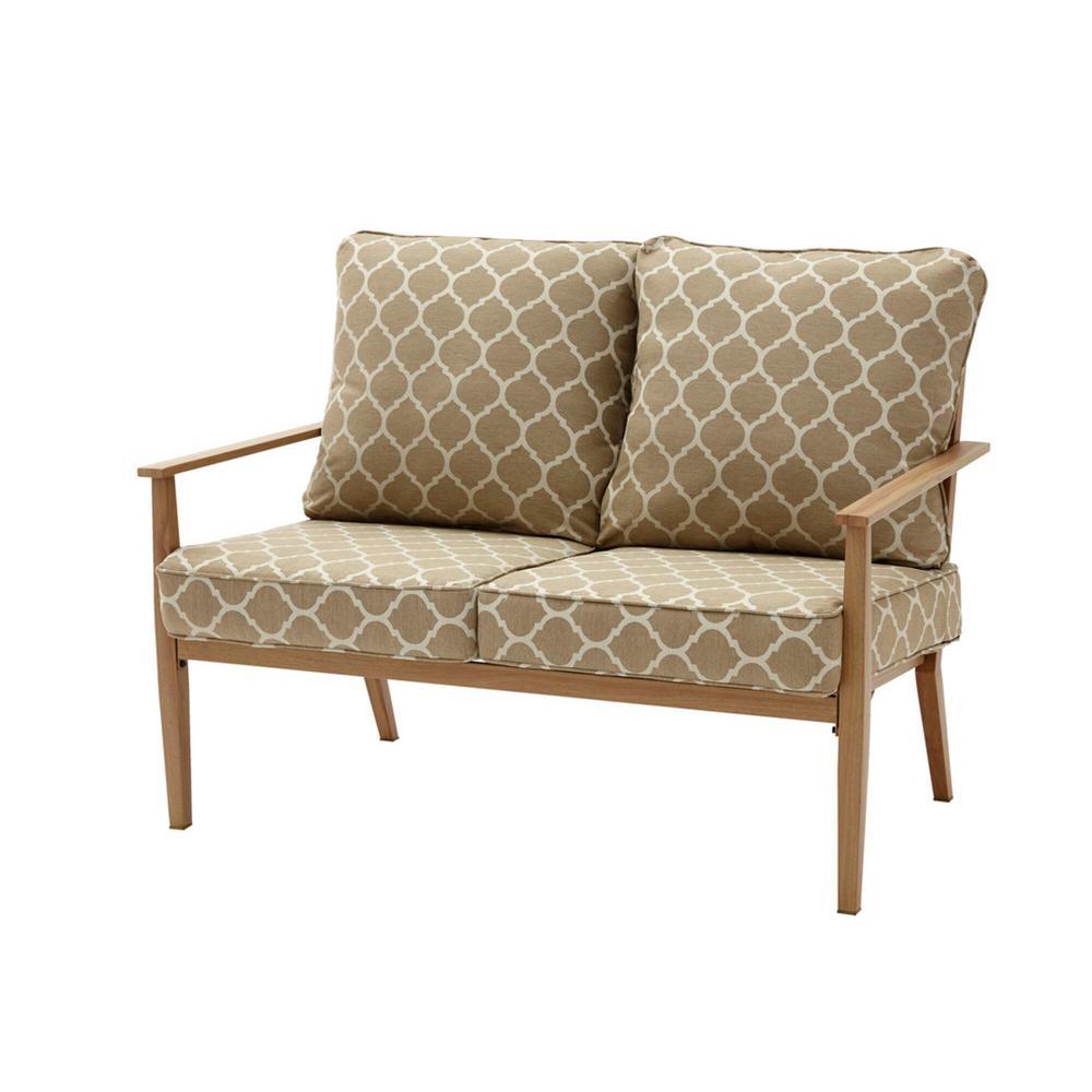 Alderton Brown Steel Outdoor Patio Loveseat with CushionGuard Toffee Trellis Tan Cushions