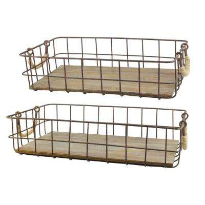 10 in. x 4 in. Wire and Wood Baskets (Set of 2)