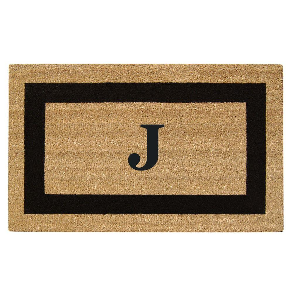 Creative Accents Single Picture Frame Black 22 in. x 36 in. HeavyDuty SuperScraper Vinyl Coir Monogrammed J Door Mat