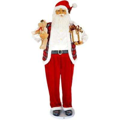58 in. Christmas Dancing Santa with Teddy Bear and Gift