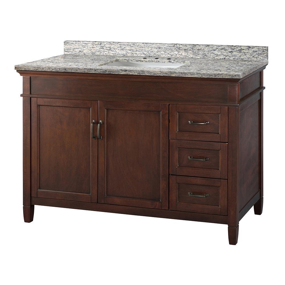 Ashburn 49 in. W x 22 in. D Vanity in Mahogany with Granite Vanity Top in Santa Cecilia with White Sink