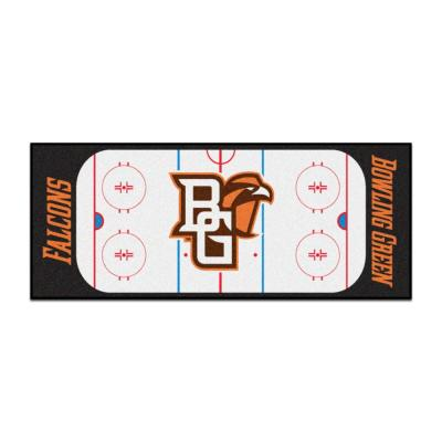 NCAA - Bowling Green State University White 3 ft. x 6 ft. Indoor Hockey Rink Runner Rug