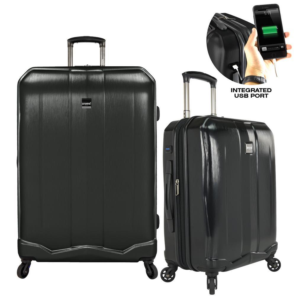 Piazza 2-Piece Smart Spinner Luggage Set, Black