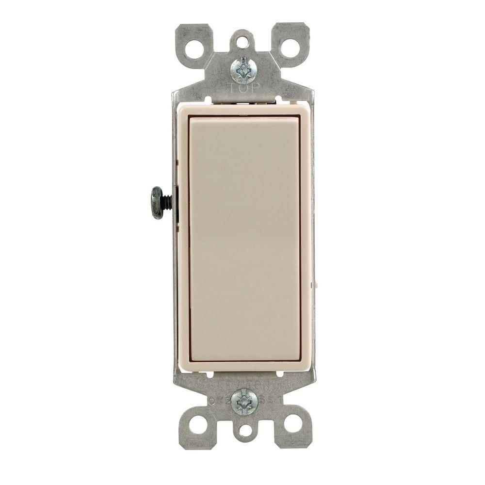 Leviton Decora 15 Amp 3-Way Illuminated Switch, Light Almond on