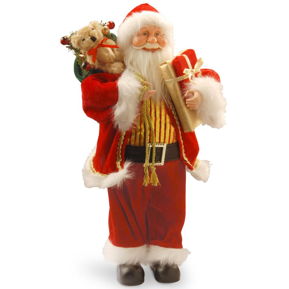National Tree Company 17.7 in. Standing Santa This Santa figure will add a taste of whimsy to your holiday decorating theme. Santa is wearing his traditional red suit with fluffy white trim. Over his shoulder he carries a sack that is overflowing with toys and gifts, in his other hand is a wrapped present. Ornate gold vest, jacket trim and belt buckle add sparkle.
