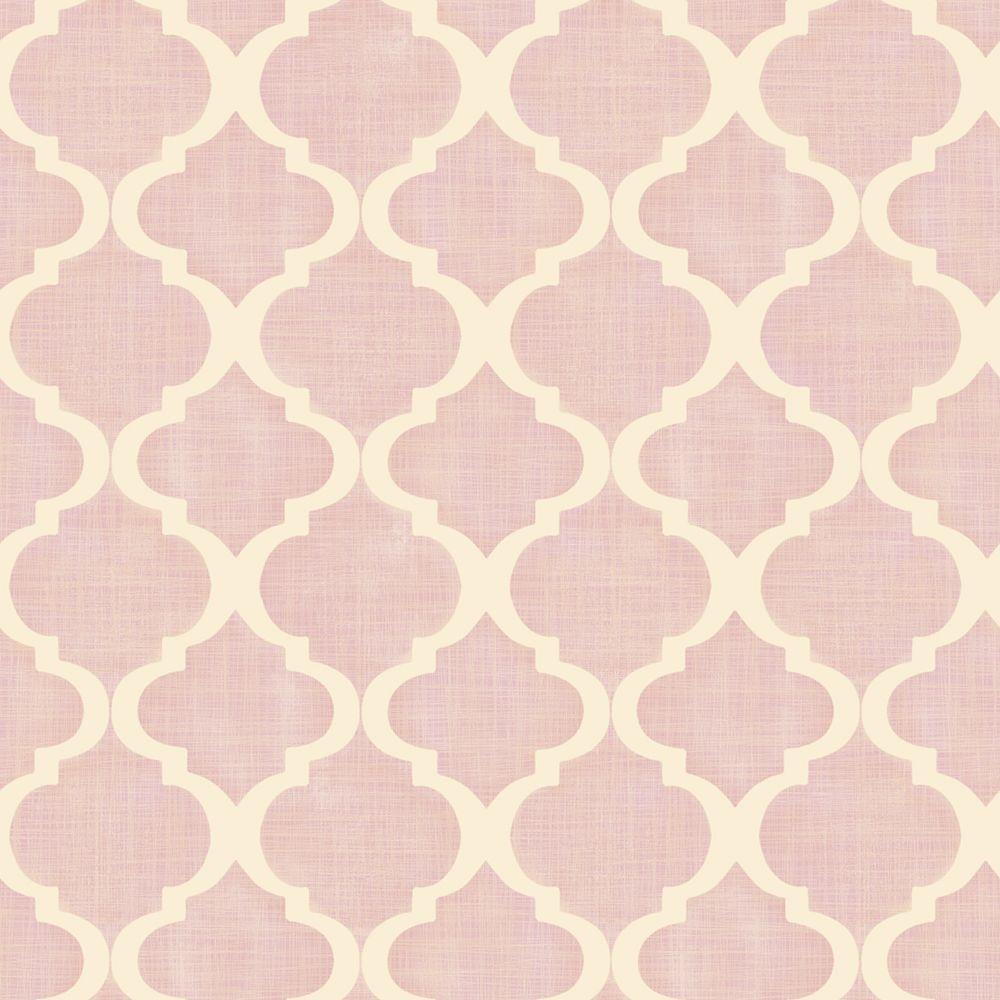 Chesapeake Tabitha Blush Watercolor Quatrefoil Wallpaper