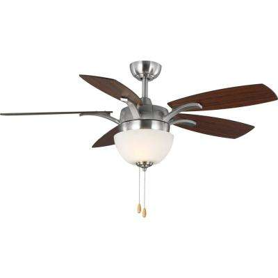 Olson 5-Blade 52 in. Integrated LED Brushed Nickel Ceiling Fan with Light Kit