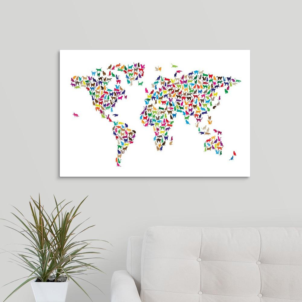 Cat Map Of The World.Greatbigcanvas Map Of The World Cats Ii By Michael Tompsett