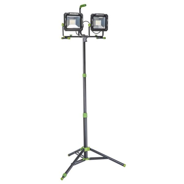 15,000 Lumen Weatherproof Dual Head LED Work Light with Metal Tripod, Impact-Resistant Glass Lens and 9' Cord
