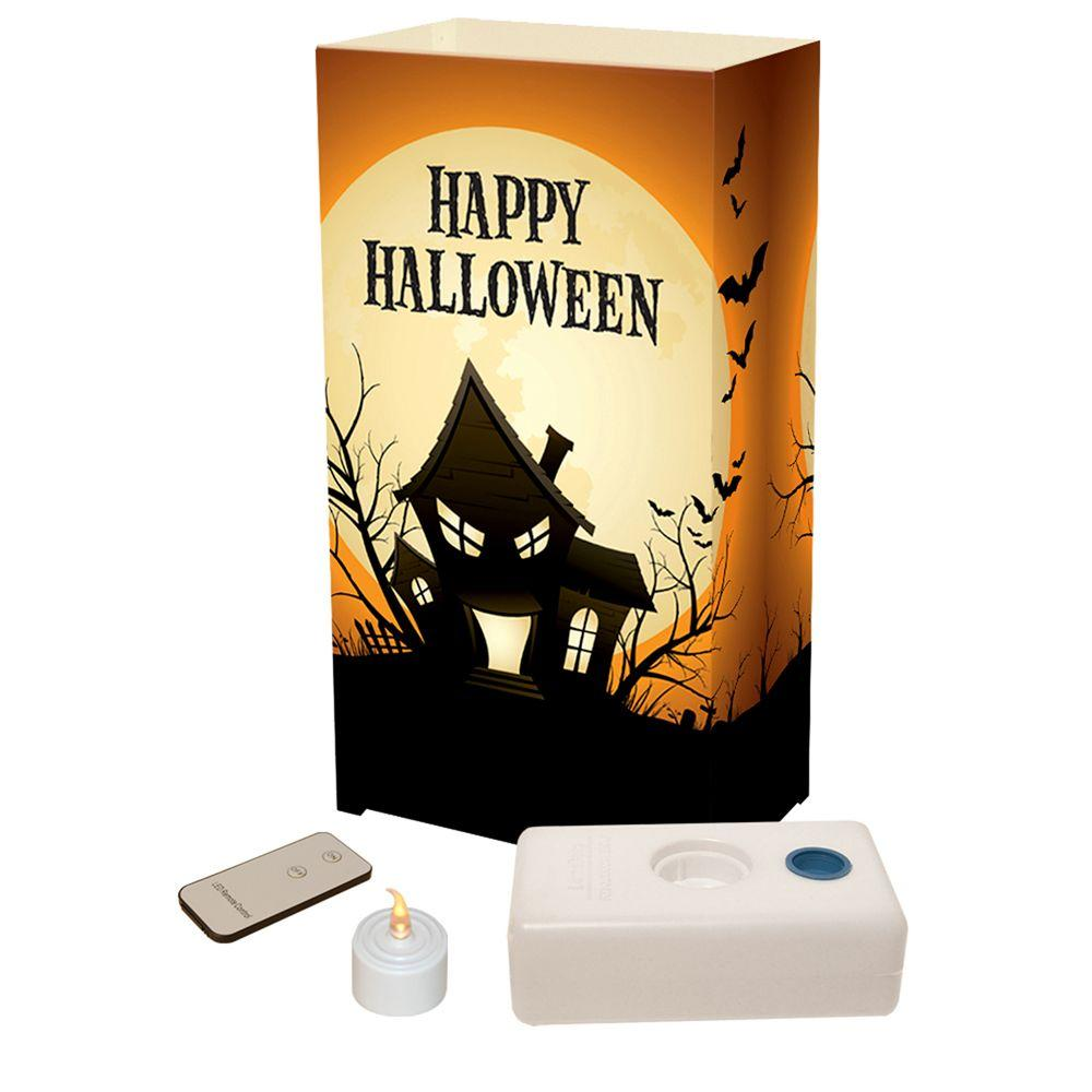 Lumabase LED Clear Haunted House Luminaria Kit with Remote (Pack of 10)