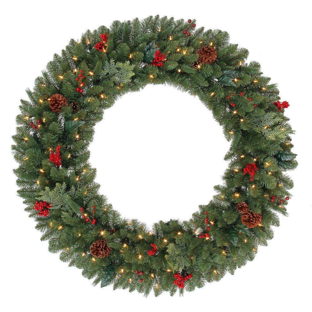 48 in. Battery Operated Pre-Lit LED Winslow Artificial Christmas Wreath with