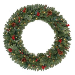 48 in. Battery Operated Pre-Lit LED Winslow Artificial Christmas Wreath with Pinecones and Berries