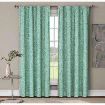 Semi-Opaque Leila Printed Cotton Extra Wide 96 in. L Rod Pocket Curtain Panel Pair, Dusty Teal (Set of 2)