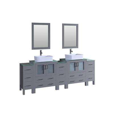 96 in. W Double Bath Vanity with Tempered Glass Vanity Top in Green with White Basin and Mirror