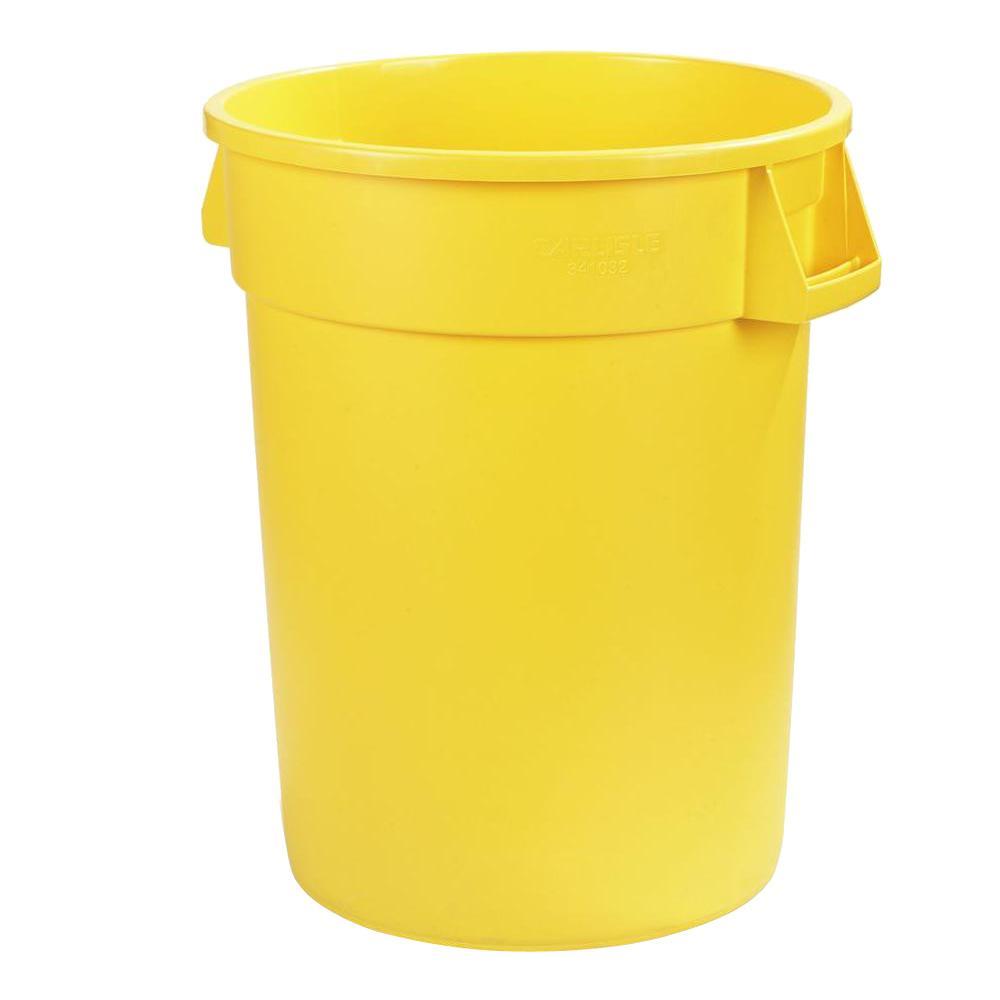 Carlisle Bronco 32 Gal Yellow Round Trash Can 4 Pack