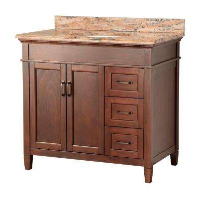 Ashburn 37 in. W x 22 in. D Vanity in Mahogany with Right Drawers with Vanity Top and Stone Effects in Bordeaux