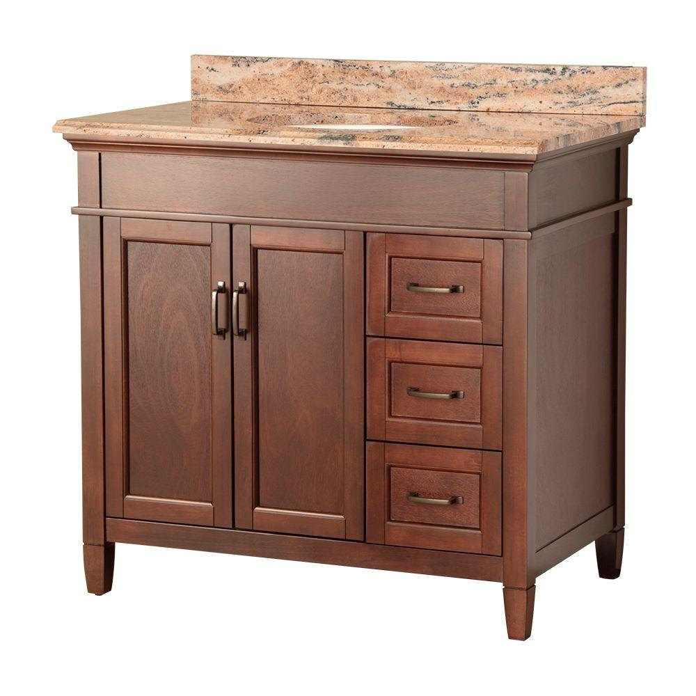 null Ashburn 37 in. W x 22 in. D Vanity in Mahogany with Right Drawers with Vanity Top and Stone Effects in Bordeaux